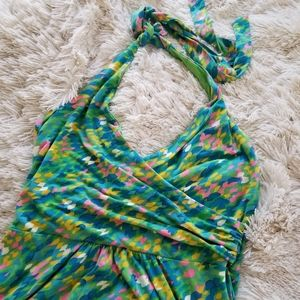 Boden green brush stroke halter dress size 8